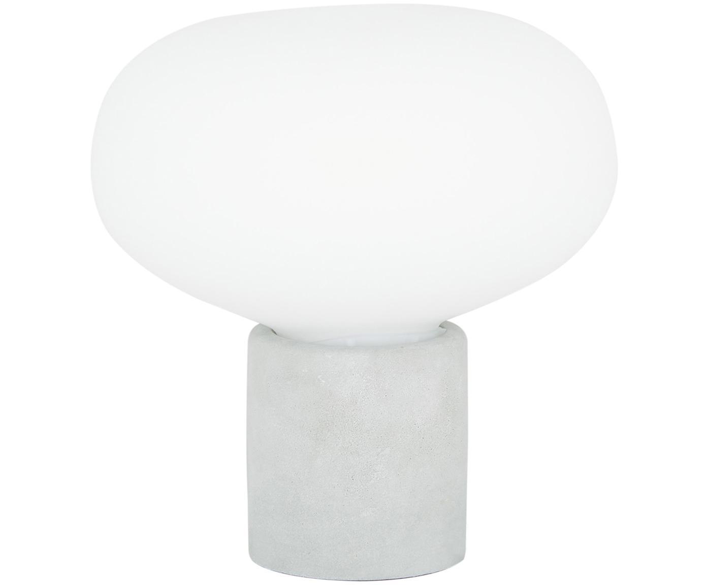 Lámpara de mesa de hormigón Alma, Pantalla: vidrio, Cable: cubierto en tela, Gris hormigón, blanco, Ø 23 x Al 24 cm
