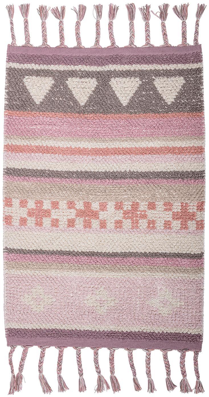 Tappeto in cotone con nappe Nagou, Cotone, Tonalità rosa, bianco, beige, Larg. 60 x Lung. 90 cm