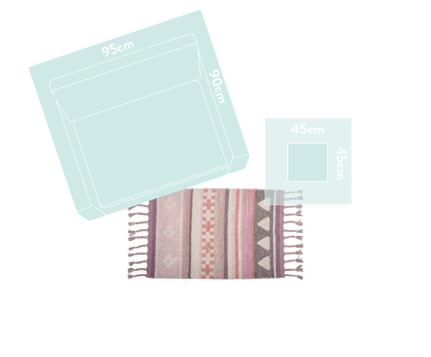 Teppich Nagou, Baumwolle, Rosatöne, Weiß, Beige, 60 x 90 cm
