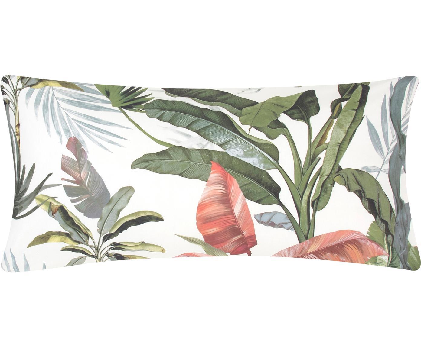 Baumwollperkal-Kissenbezüge Tropicana mit tropischem Print, 2 Stück, Webart: Perkal Fadendichte 200 TC, Vorderseite: MehrfarbigRückseite: Cremeweiss, 40 x 80 cm