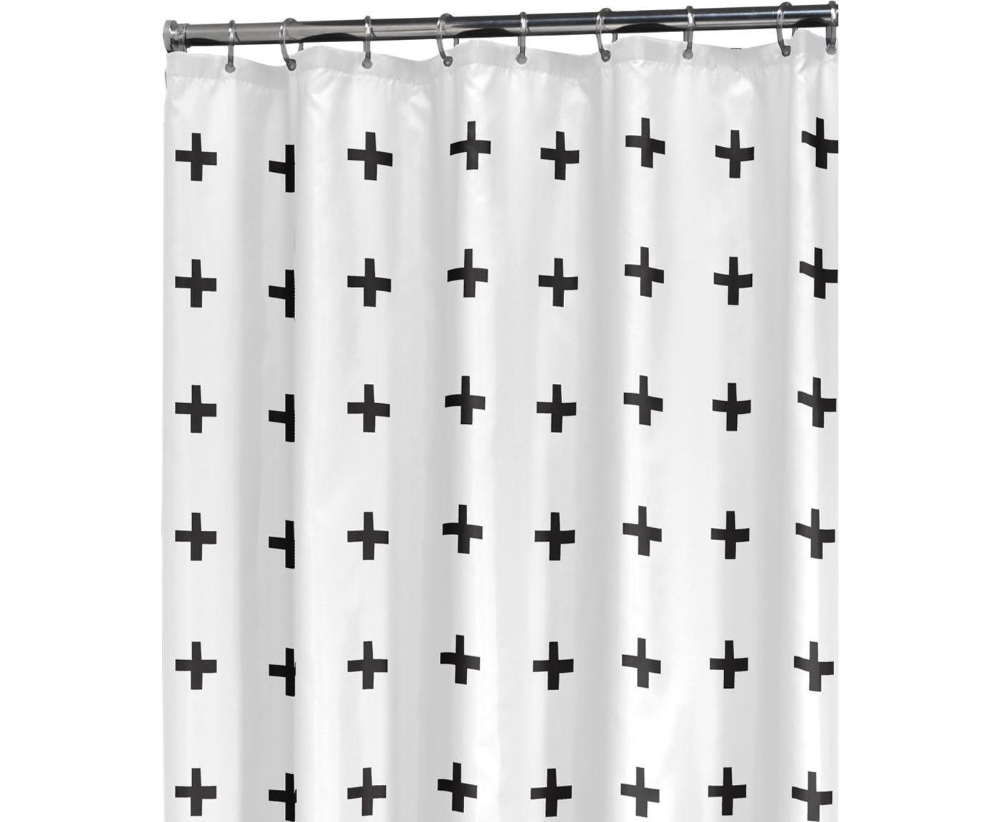 Gemusterter Duschvorhang Kenzie, Weiß, Schwarz, 180 x 200 cm