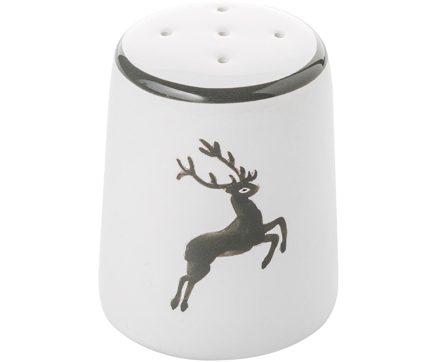 Handgefertigter Salzstreuer Classic Grauer Hirsch, Keramik, Grau,Weiß, H 4 cm