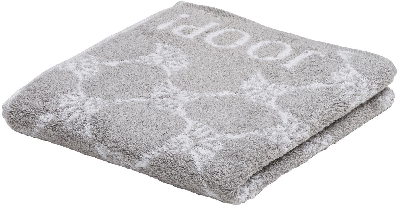 Handdoek Classic Cornflower met korenbloemen print, 100% katoen (badstof), middelzware kwaliteit, 536 g/m², Zilvergrijs, wit, Handdoek