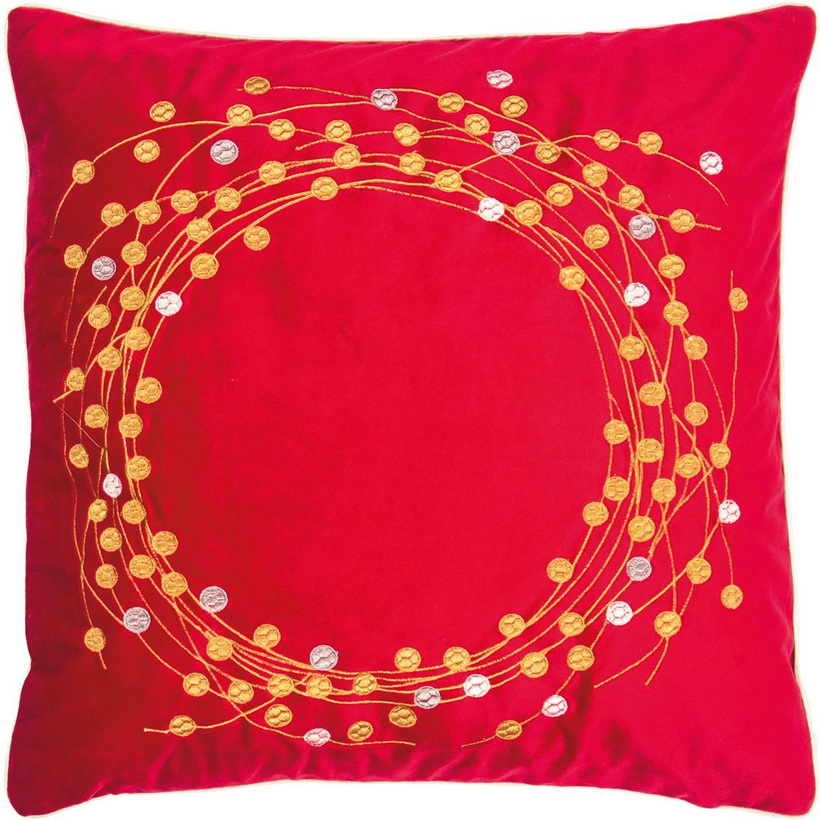 Federa arredo in velluto Circle, Velluto di poliestere, Rosso, dorato, Larg. 45 x Lung. 45 cm