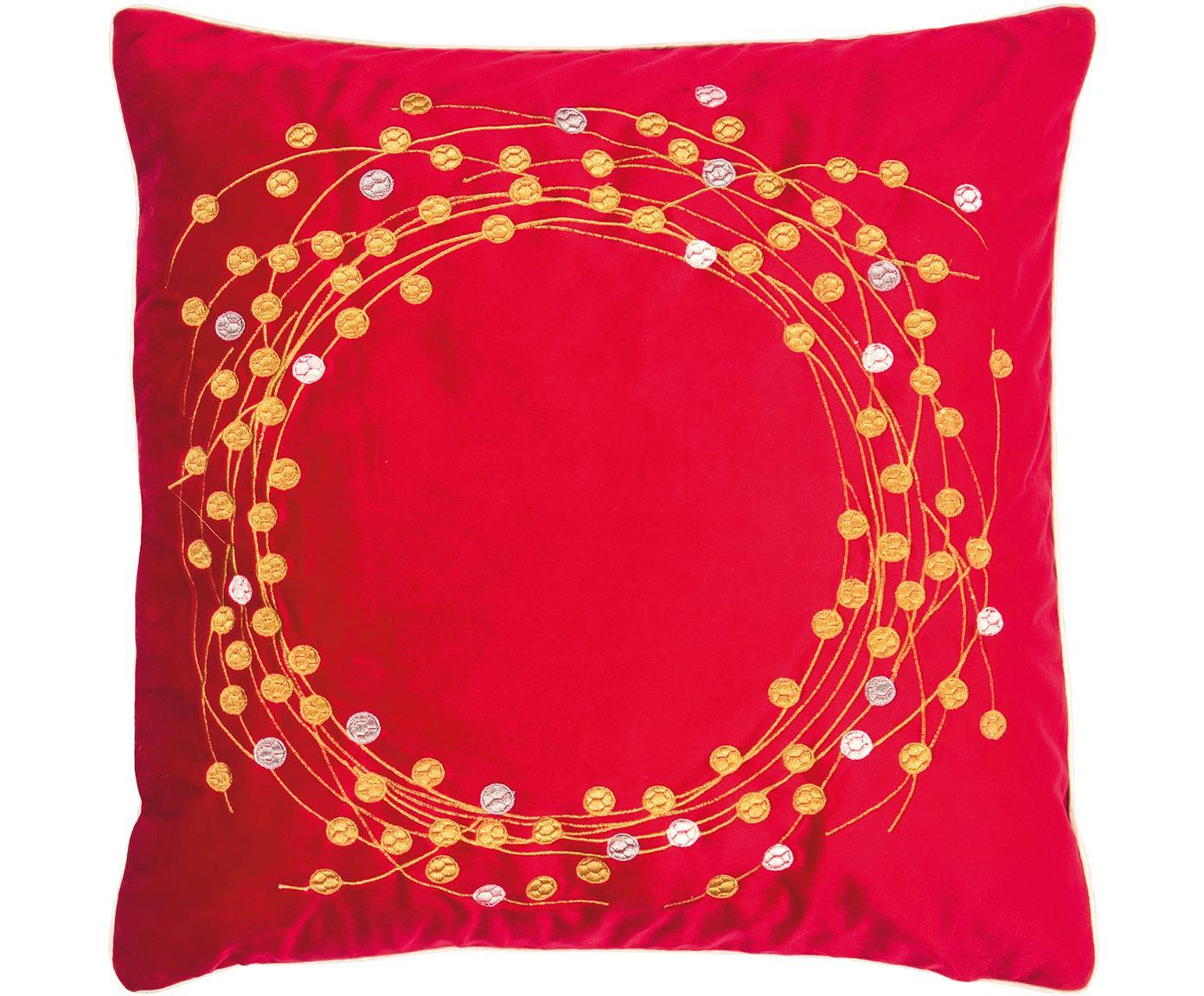 Fluwelen kussenhoes Circle met geborduurd wintermotief, Polyester fluweel, Rood, goudkleurig, 45 x 45 cm