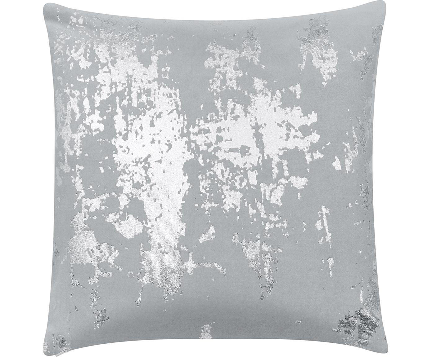 Federa arredo vintage in velluto lucido Shiny, Velluto di cotone, Grigio chiaro, argentato, Larg. 40 x Lung. 40 cm