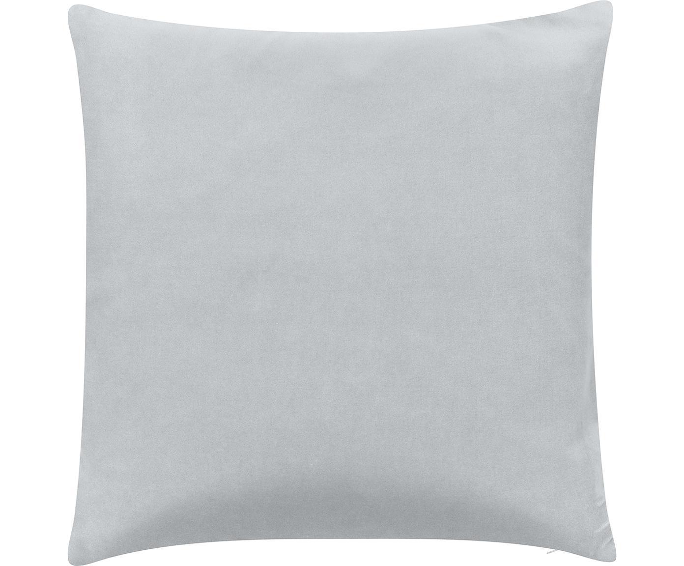 Poszewka na poduszkę z aksamitu Shiny, Aksamit bawełniany, Jasny szary, odcienie srebrnego, S 40 x D 40 cm