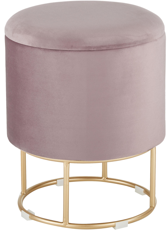 Taburete de terciopelo Polina, con espacio de almacenamiento, Tapizado: terciopelo de poliéster A, Estructura: metal, pintado, Rosa, latón, Ø 35 x Al 45 cm