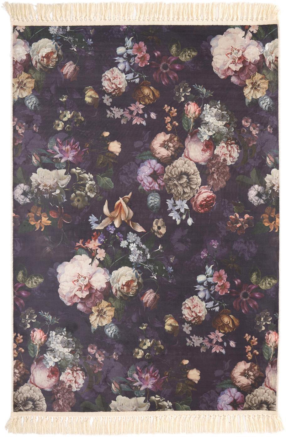 Vloerkleed Fleur met bloemmotief en franjes, Polyester, Nachtblauw, 120 x 180 cm