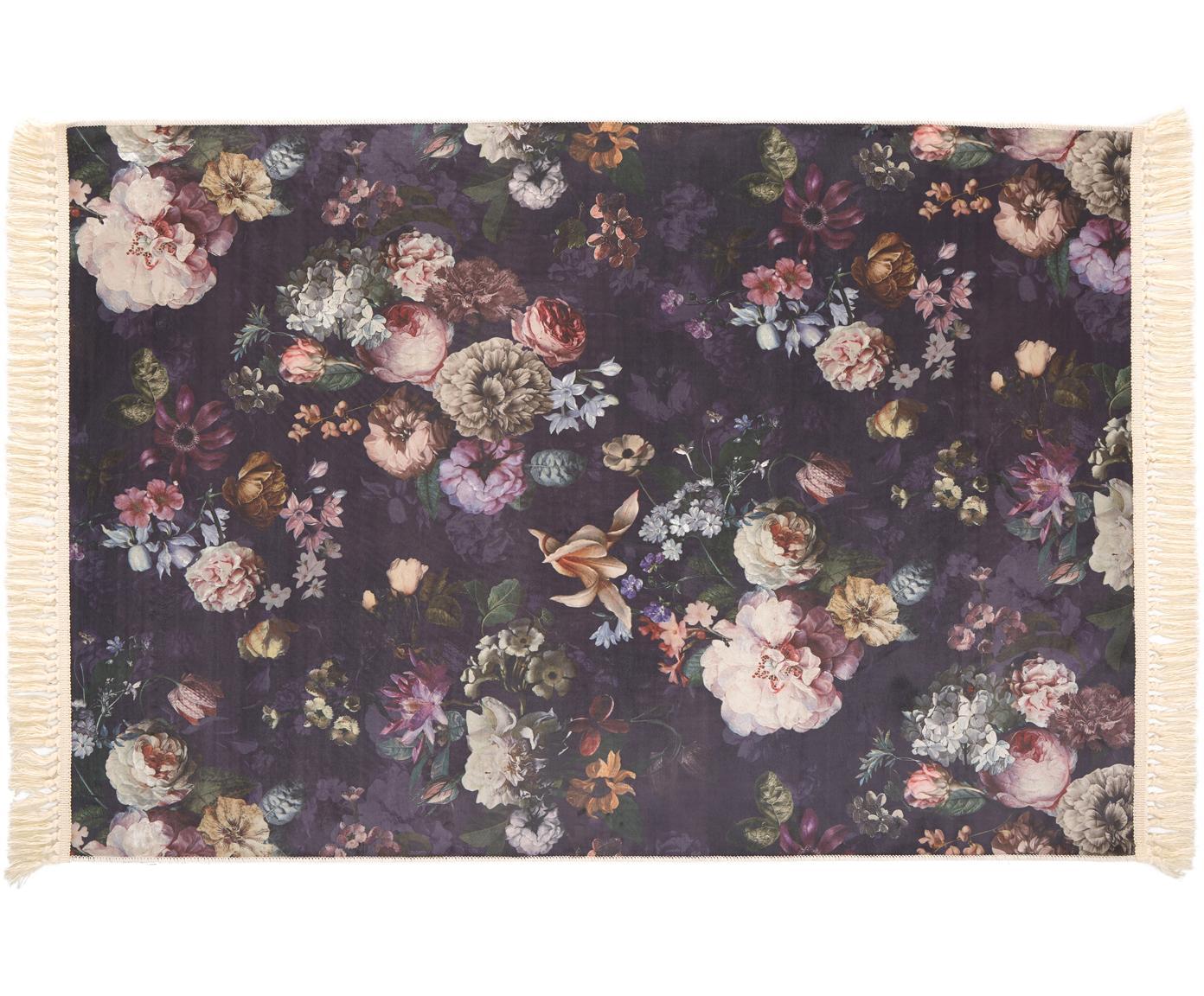 Teppich Fleur mit Blumenmuster und Fransen, 100% Polyester, Nachtblau, B 120 x L 180 cm (Größe S)