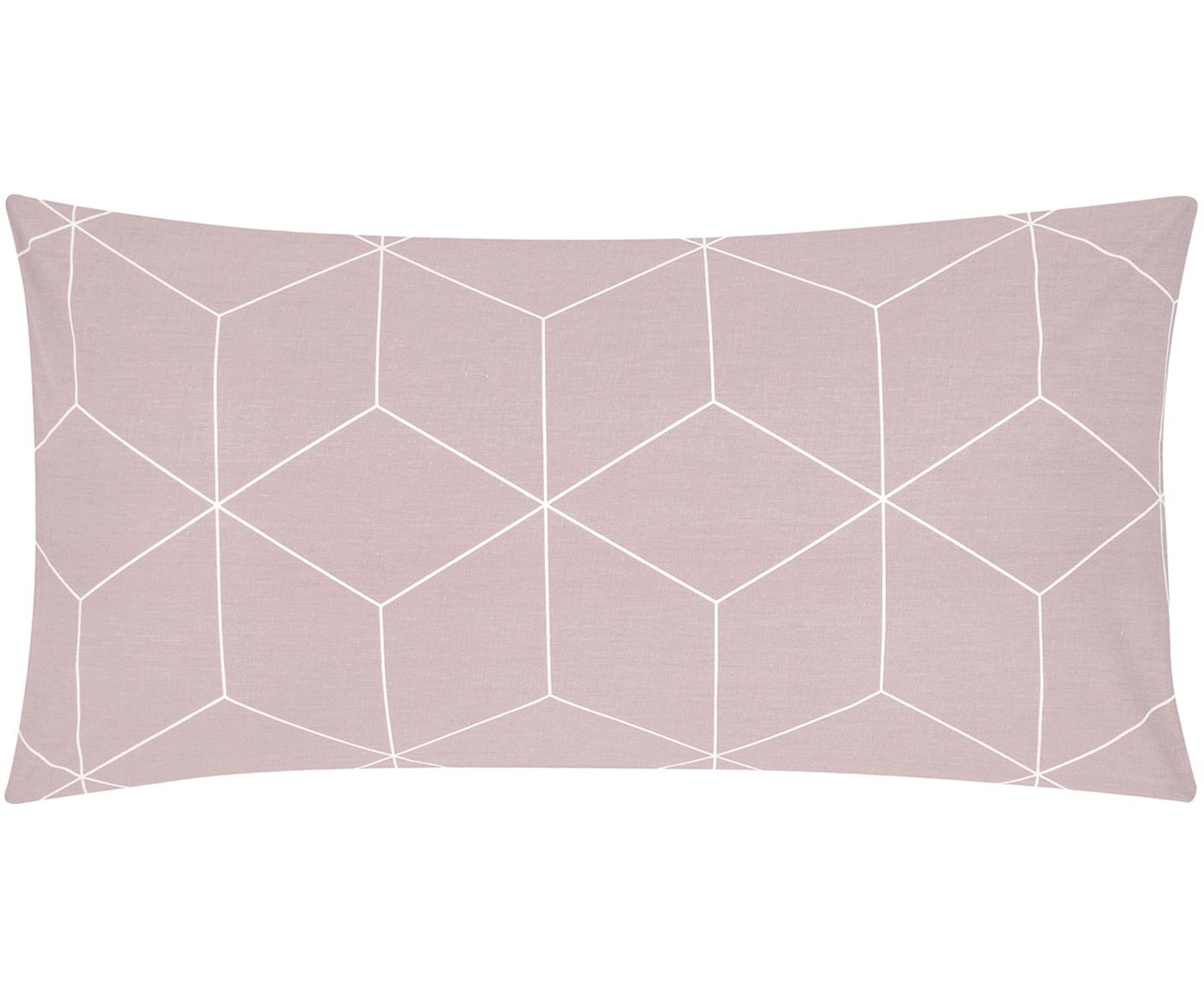 Baumwoll-Kissenbezüge Lynn mit grafischem Muster, 2 Stück, Webart: Renforcé Fadendichte 144 , Altrosa, Cremeweiss, 40 x 80 cm