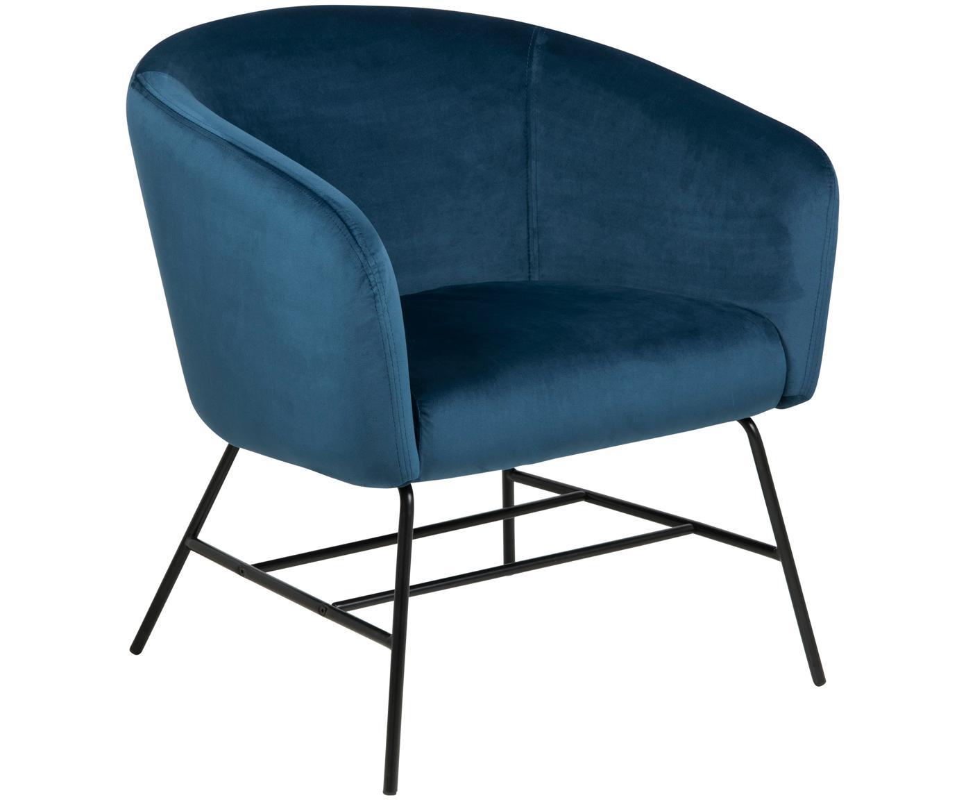 Poltrona moderna in velluto blu Ramsey, Rivestimento: velluto di poliestere 25., Gambe: metallo, laccato, Blu navy, Larg. 72 x Prof. 67 cm