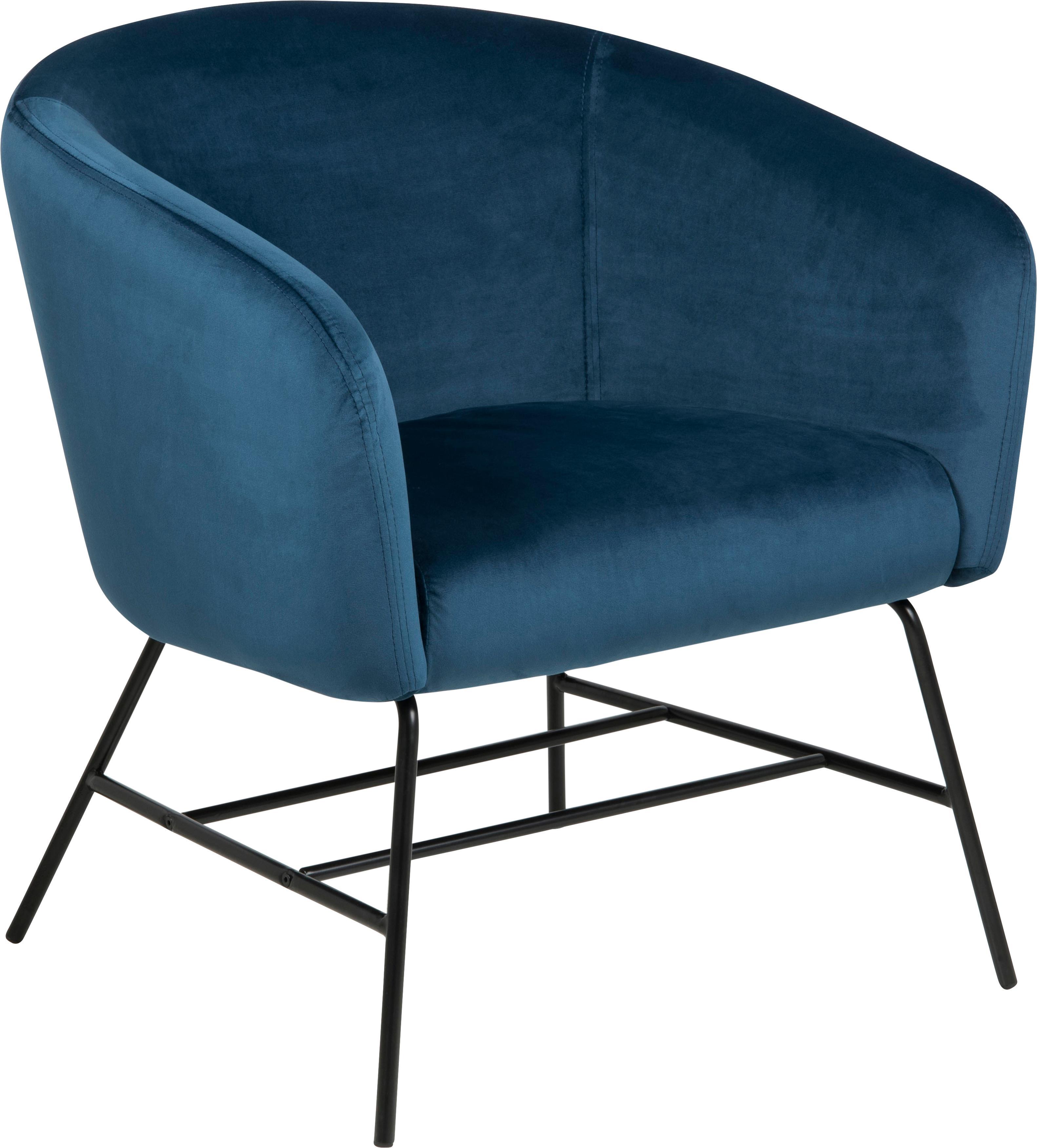 Moderne fluwelen fauteuil Ramsey in blauw, Bekleding: polyester fluweel, Poten: gelakt metaal, Fluweel marineblauw, B 72 x D 67 cm