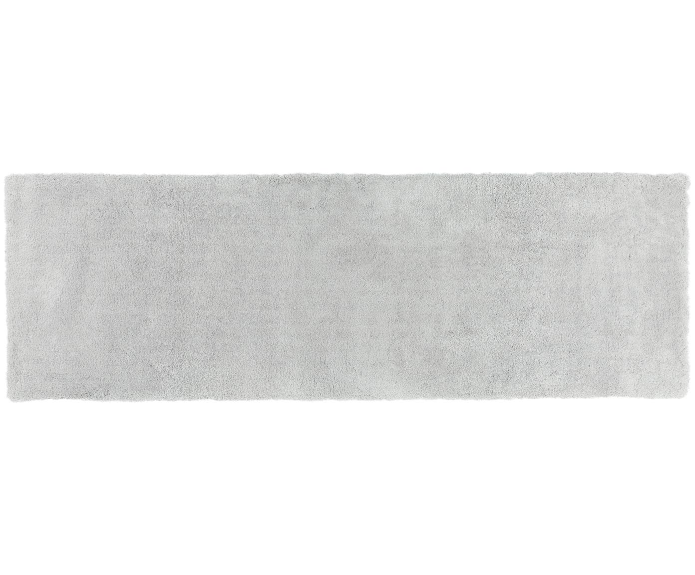 Alfombra de pelo largo Leighton, Parte superior: 100%poliéster (microfibr, Reverso: 100%poliéster, Gris claro, An 80 x L 250 cm
