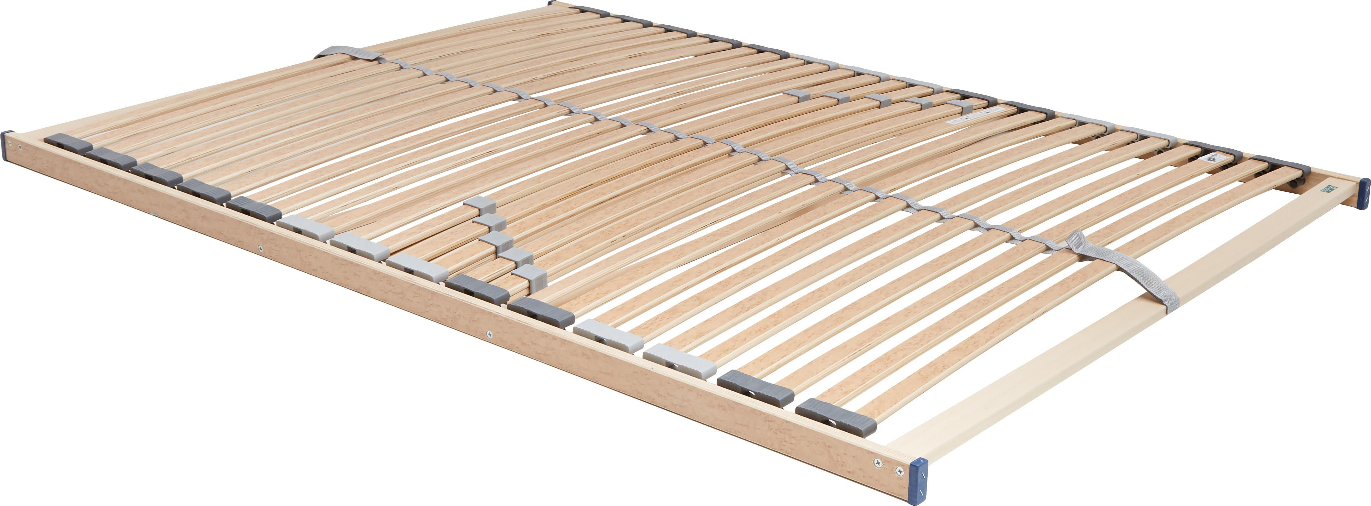 Lattenrost Comfort Plus, Rahmen: Schichtholz, Metall, Leisten: Federholzleisten mit Wurz, Mittelgurt: Kunstfaser, Kappen: Kunststoff, Hellbraun, 140 x 200 cm