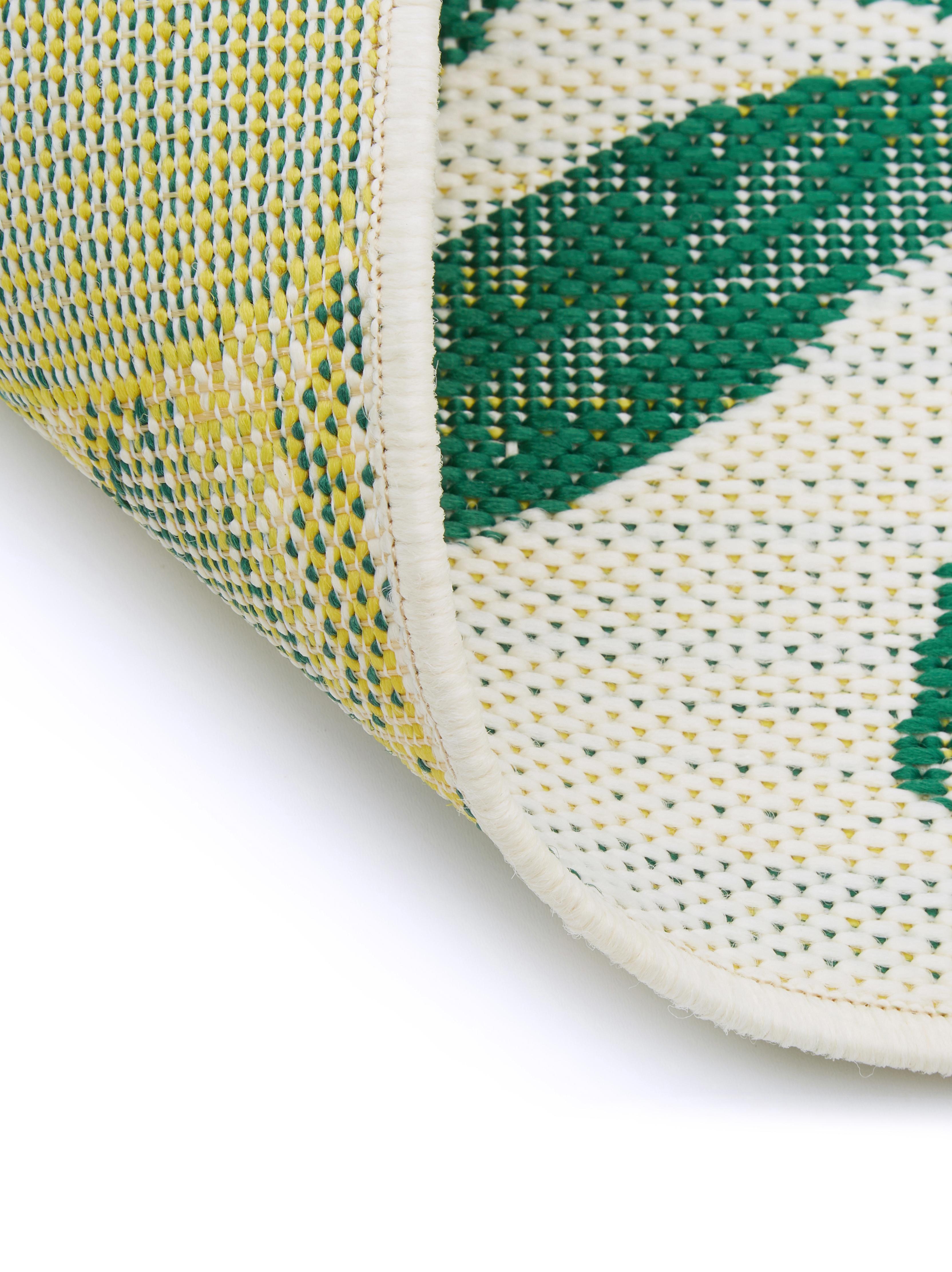 Alfombra de interior/exterior Limonia, Parte superior: polipropileno, Reverso: poliéster, Blanco, amarillo, verde, An 200 x L 290 cm (Tamaño L)