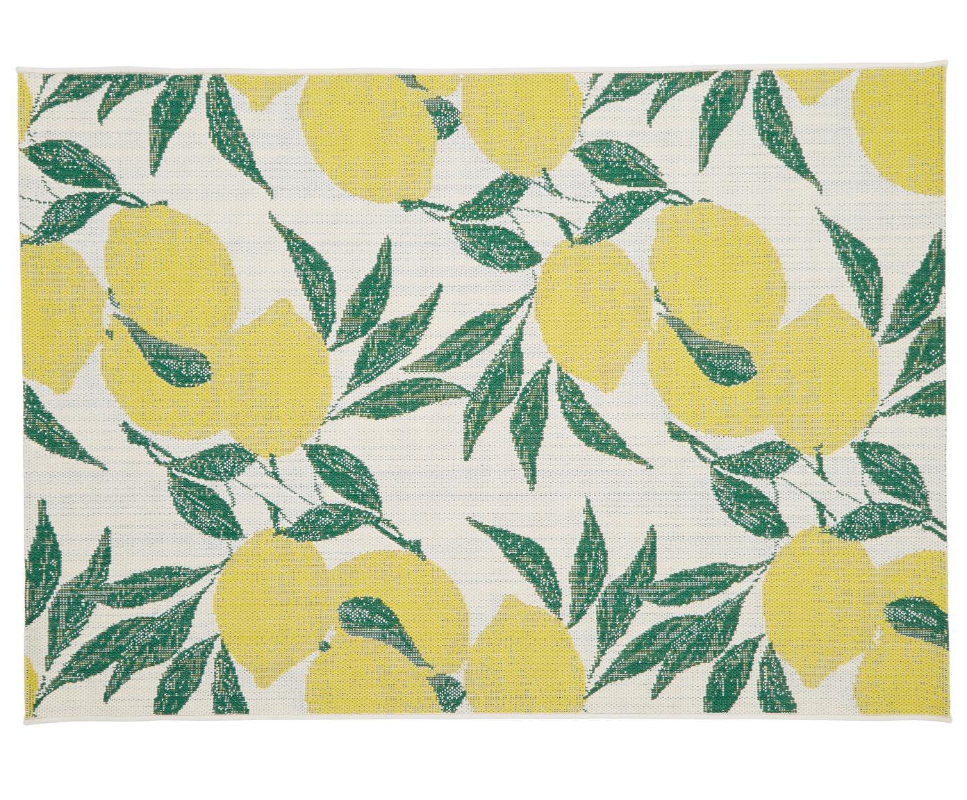Tappeto da interno-esterno Limonia, Retro: poliestere, Bianco crema, giallo, verde, Larg. 120 x Lung. 170 cm (taglia s)