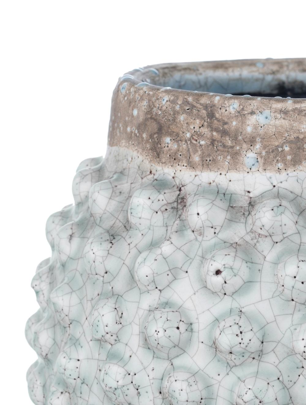 Übertopf Magna aus Keramik, Keramik, glasiert, Braun, Blau, Ø 20 x H 19 cm