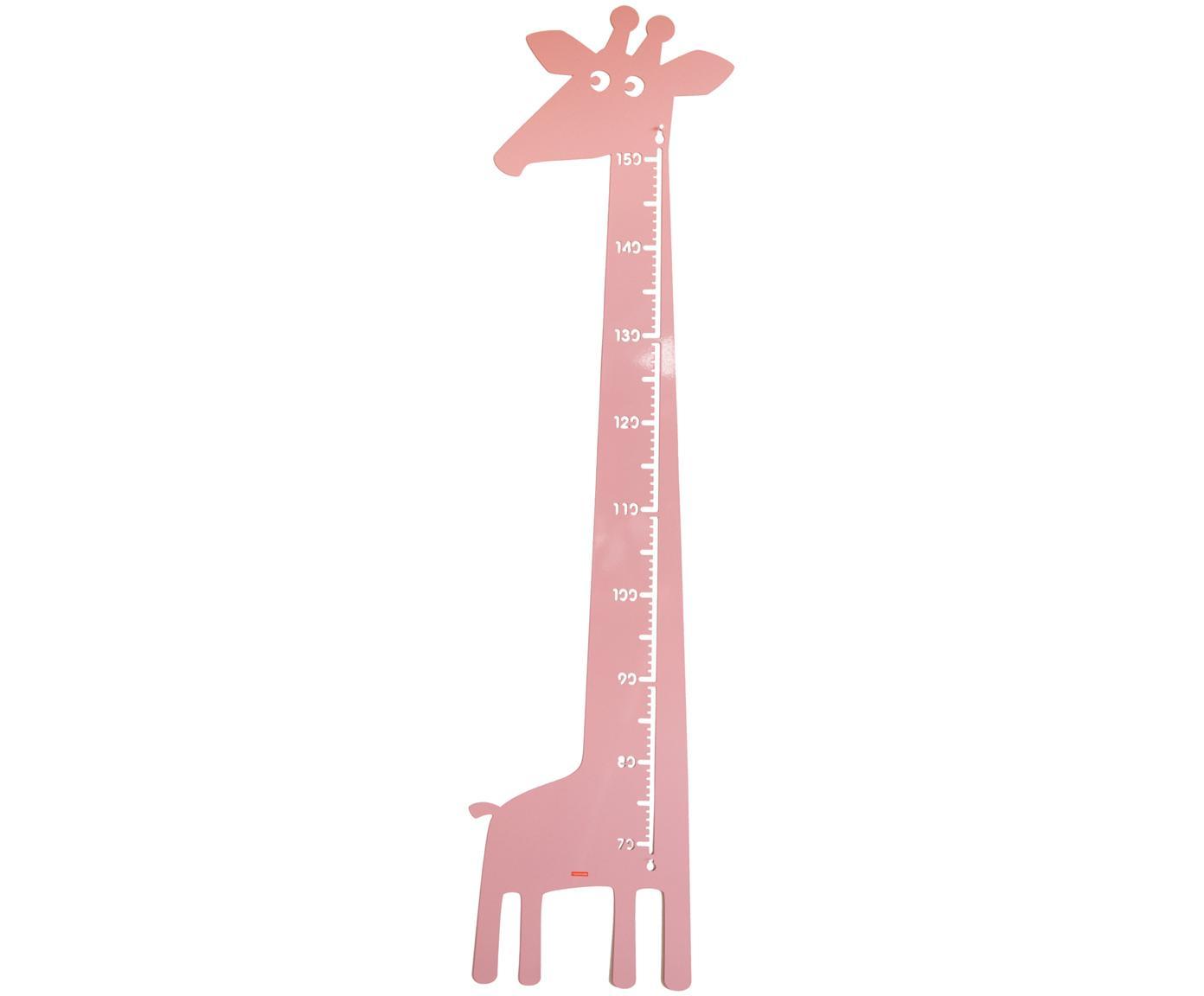 Messlatte Giraffe, Metall, pulverbeschichtet, Rosa, 28 x 115 cm