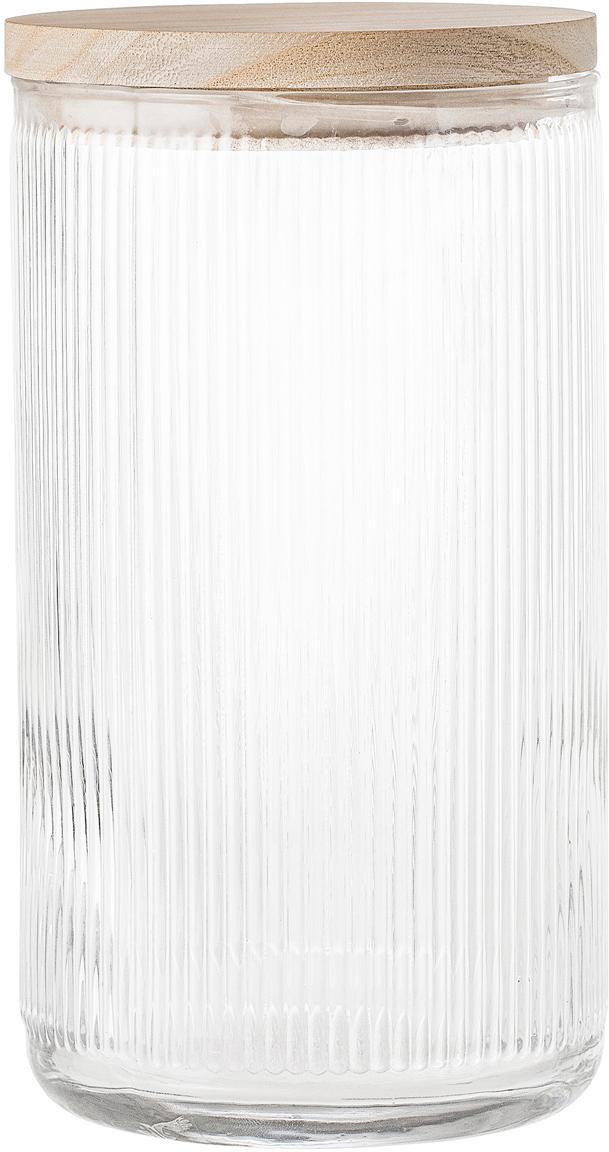 Aufbewahrungsglas Gianna mit Rillenstruktur, Deckel: Platanenholz, Silikon, Transparent, Braun, Ø 12 x H 22 cm