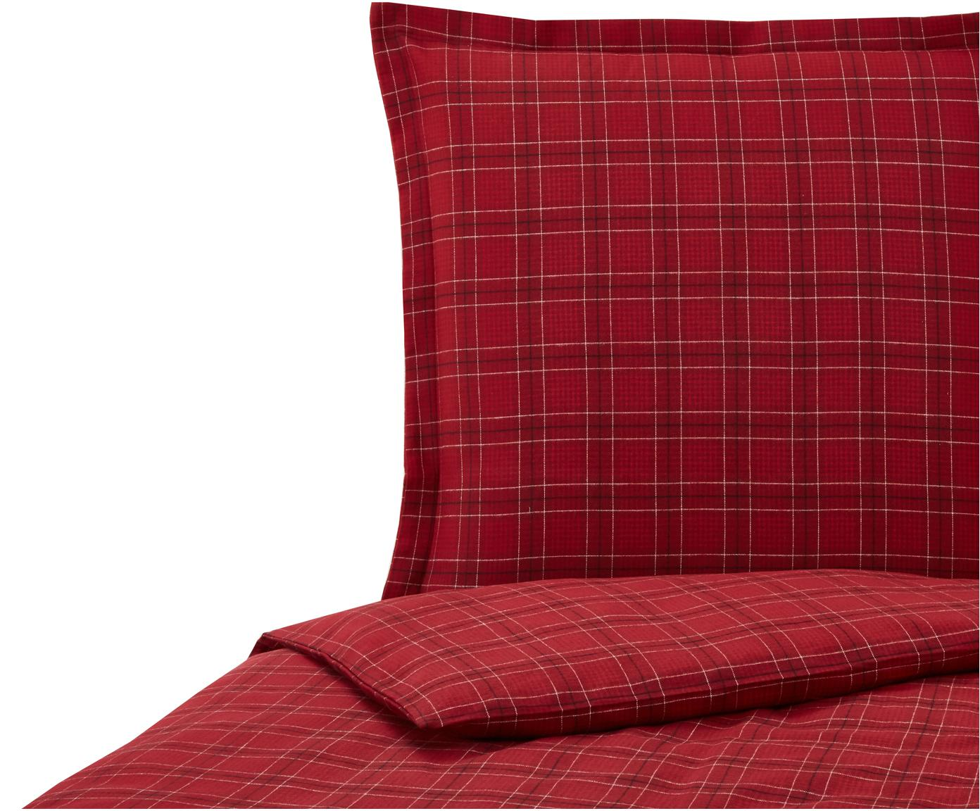 Flanell-Bettwäsche Checked in Rot, kariert, Webart: Flanell, Rot, Weiß, Schwarz, 135 x 200 cm