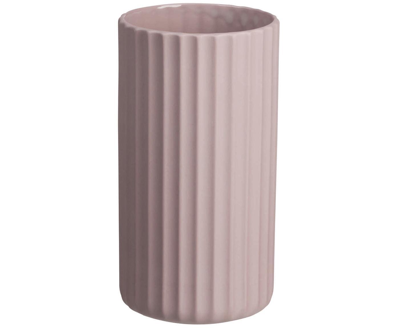 Jarrón artesanal de porcelana Yoko, Porcelana, Rosa, Ø 9 x Al 16 cm