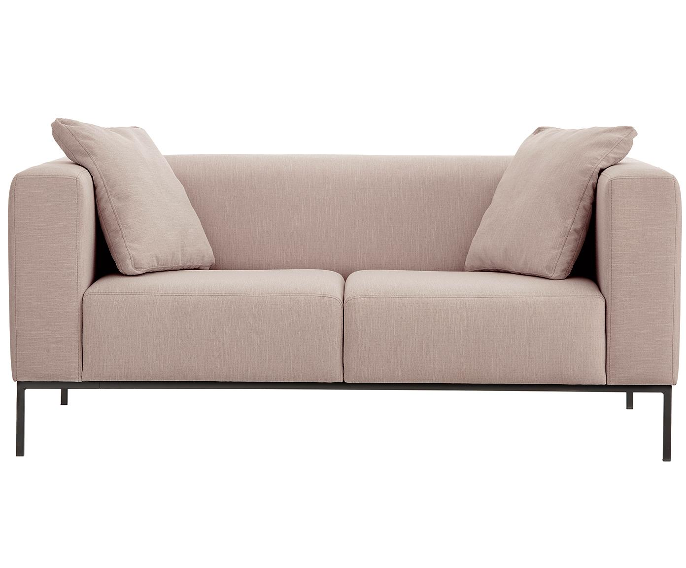 Bank Carrie (2-zits), Bekleding: polyester, Frame: spaanplaat, hardboard, mu, Poten: gelakt metaal, Webstoff Altrosa, B 176 x D 86 cm