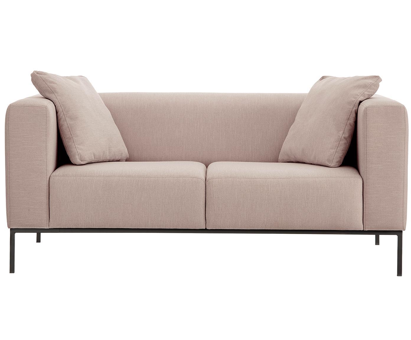 Sofa Carrie (2-Sitzer), Bezug: Polyester 50.000 Scheuert, Gestell: Spanholz, Hartfaserplatte, Füße: Metall, lackiert, Webstoff Altrosa, B 176 x T 86 cm