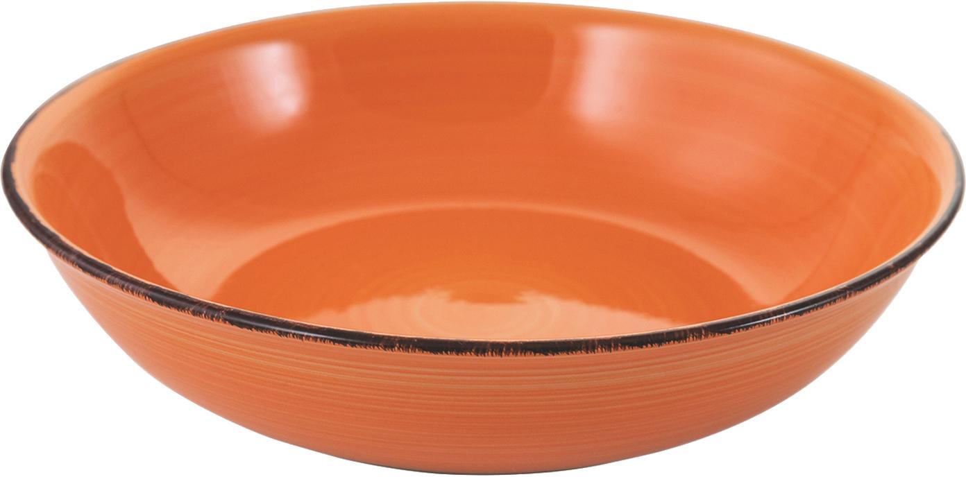 Handbemalte Schüssel Baita in Orange, Steingut (Dolomitstein), handbemalt, Orange, Ø 29 x H 7 cm