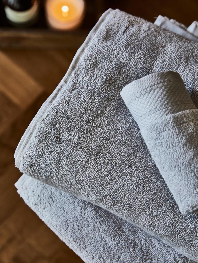 Set asciugamani con bordo decorativo Premium 3 pz, Grigio scuro, Diverse dimensioni
