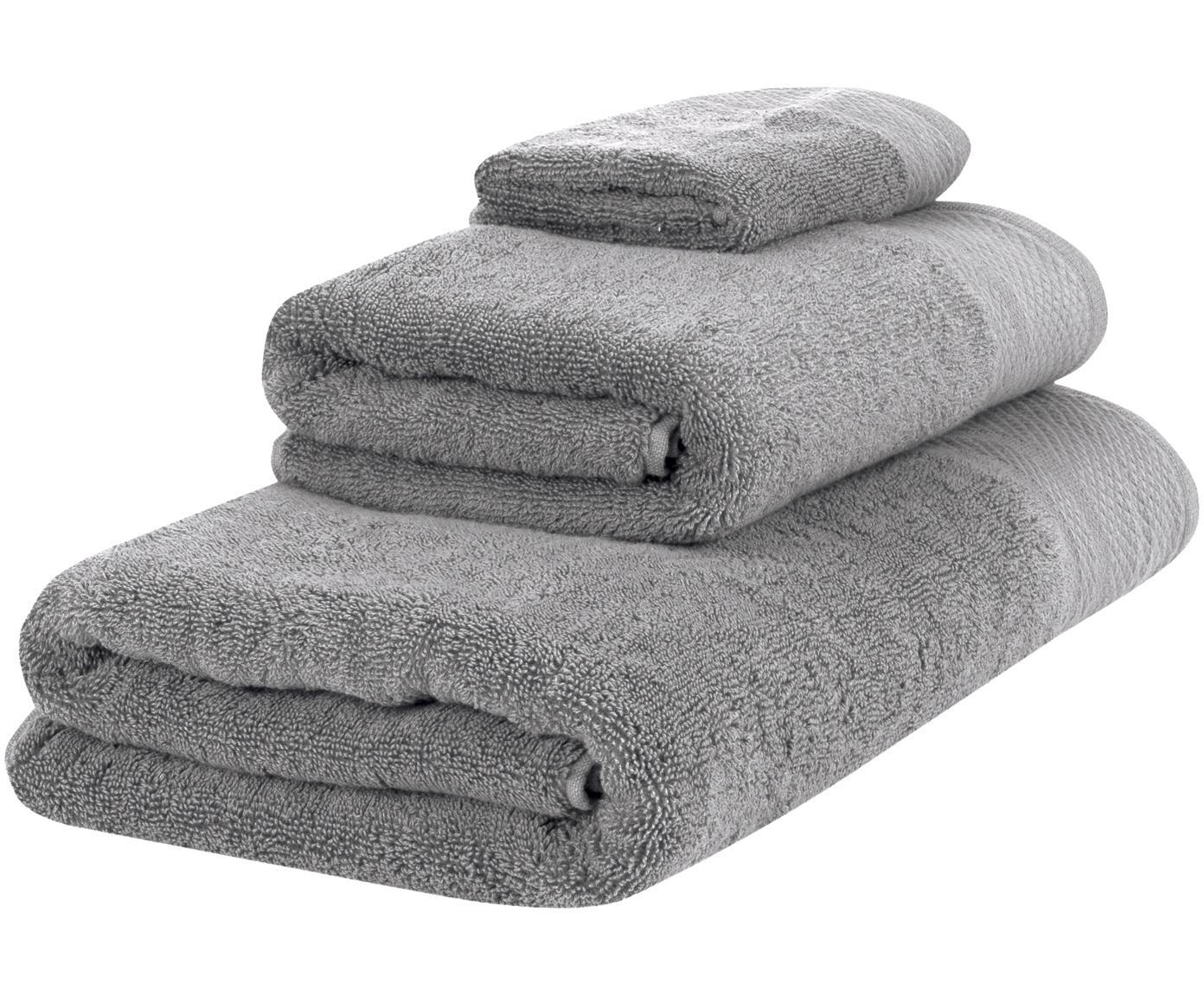 Set de toallas Premium, 3pzas., 100%algodón Gramaje superior 600g/m², Gris oscuro, Tamaños diferentes
