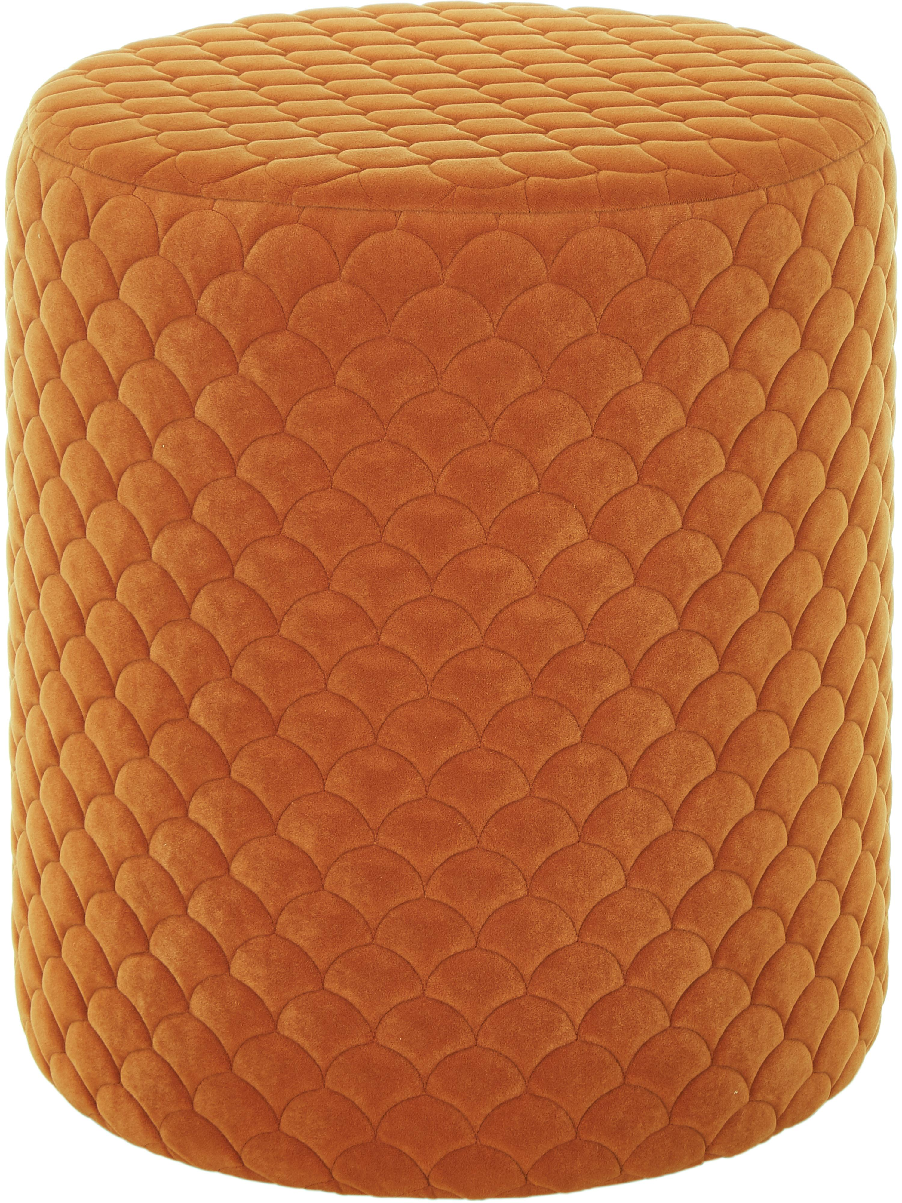 Puf z aksamitu Daisy, Tapicerka: aksamit (poliester) 8400, Aksamitny terakotowy, Ø 38 x W 45 cm
