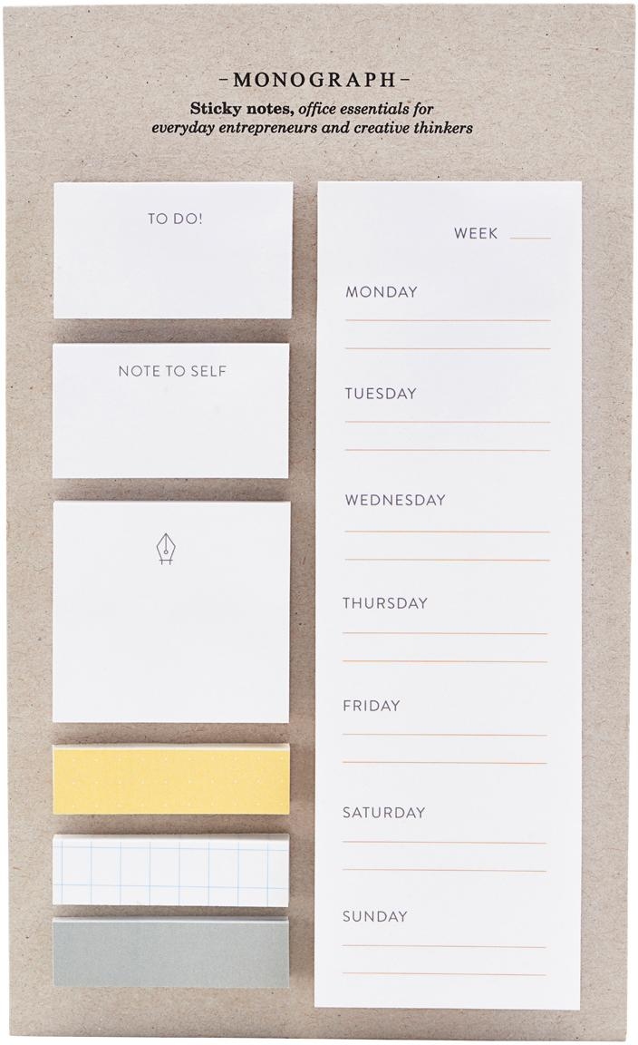 Sticky Notesset Toffi, 7-delig, Papier, Wit, geel, grijs, 12 x 22 cm