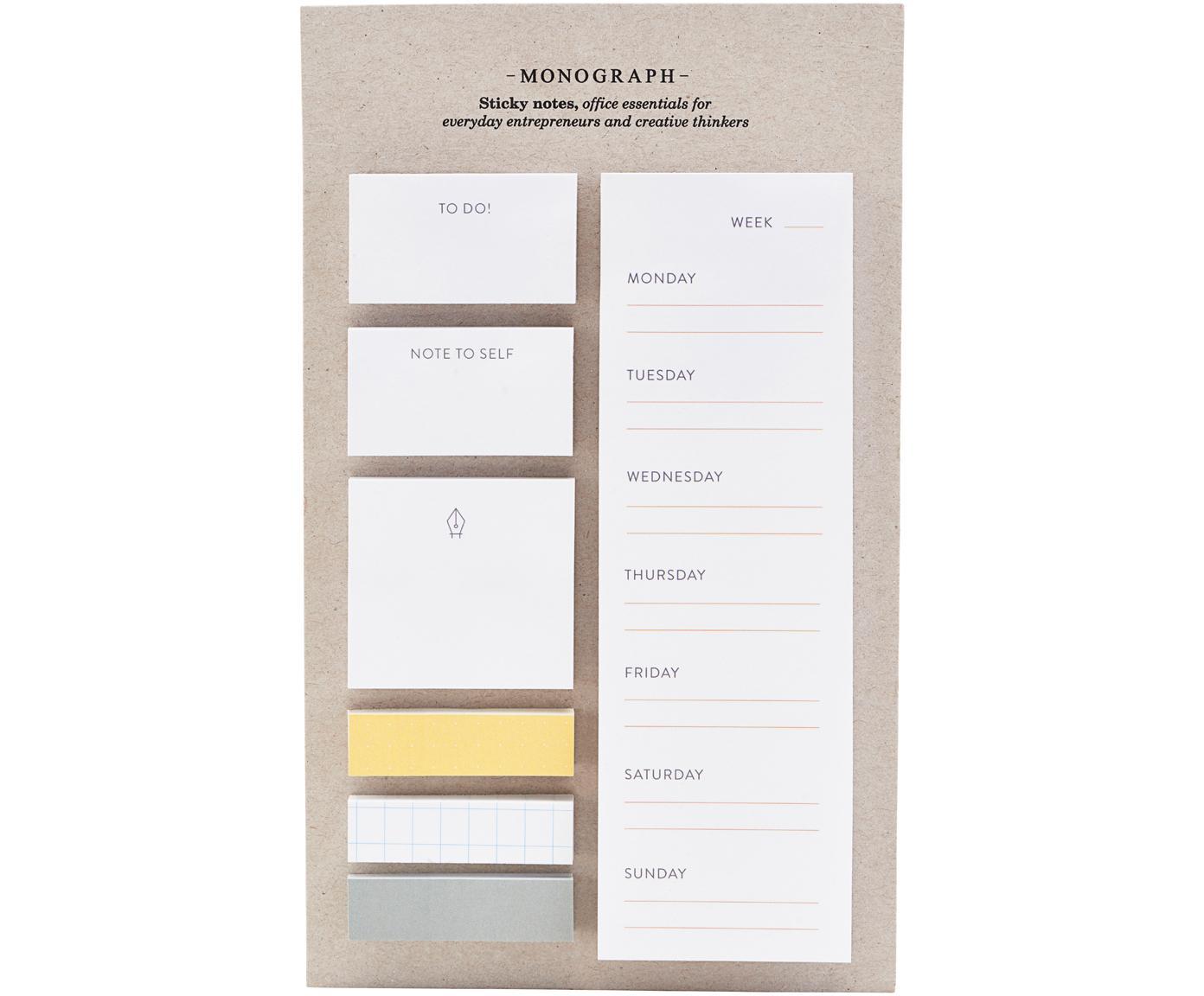 Komplet kartek samoprzylepnych Toffi, 7 elem., Papier, Biały, żółty, szary, S 12 x W 22 cm