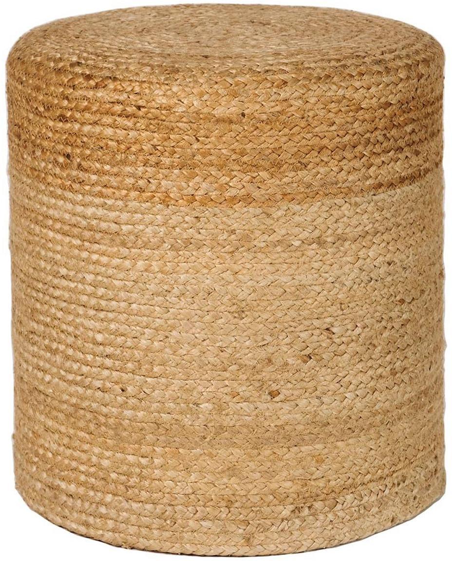 Puf de yute Barbapat, Tapizado: yute, Beige, Ø 40 x Al 30 cm