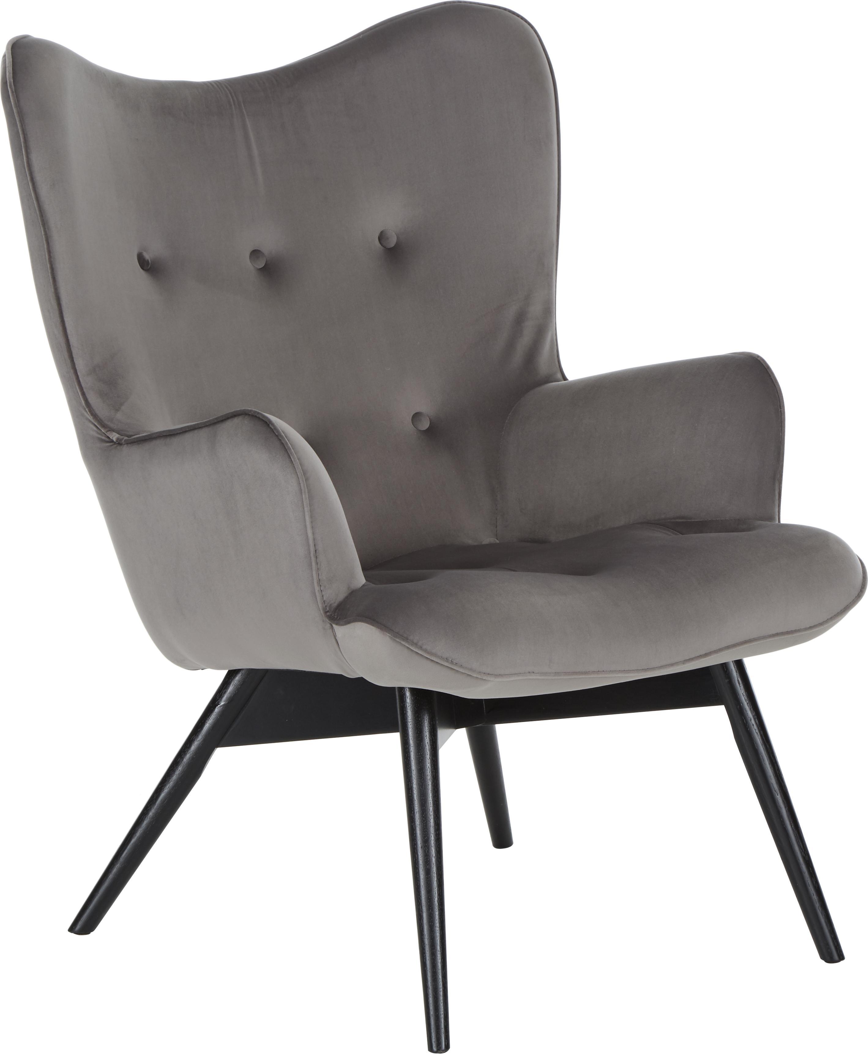 Fotel uszak z aksamitu Vicky, Tapicerka: aksamit poliestrowy Tkani, Nogi: lite drewno bukowe, jasno, Aksamitny szary, S 59 x G 63 cm