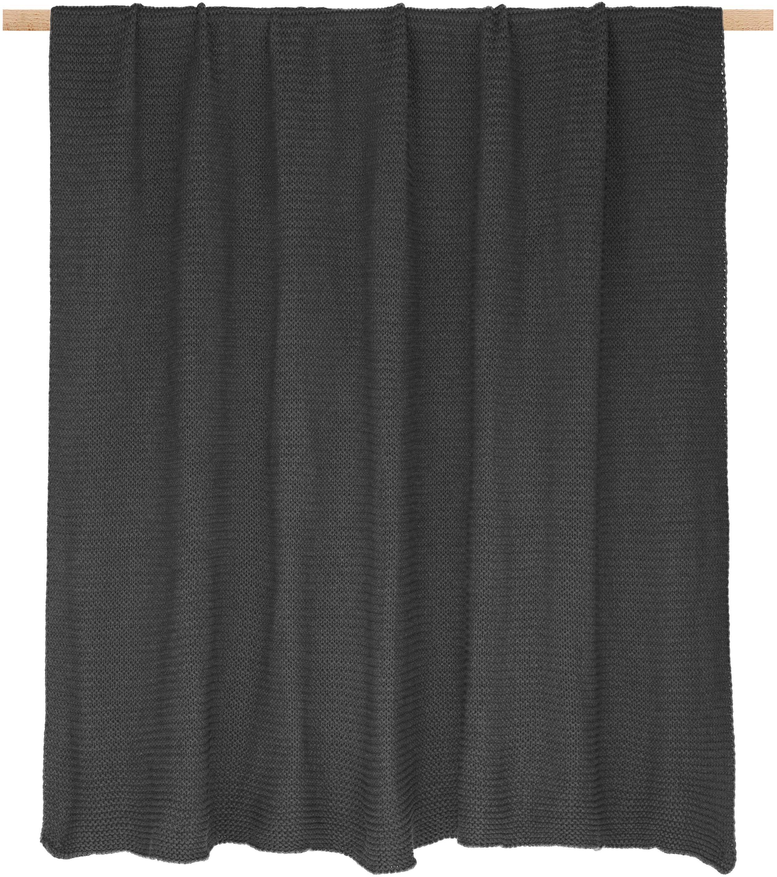 Gebreide plaid Adalyn, 100% katoen, Donkergrijs, 150 x 200 cm