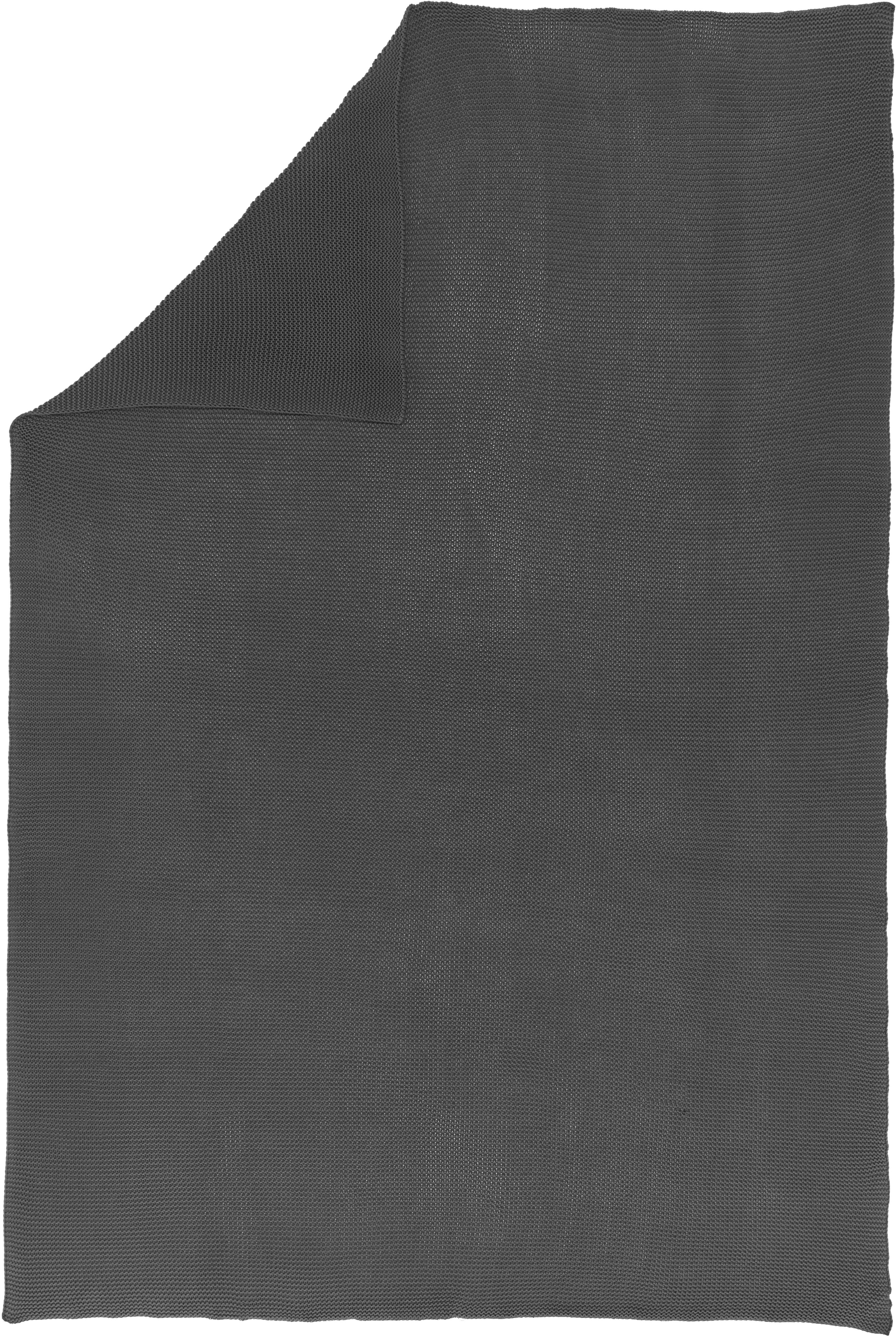 Strick-Plaid Adalyn in Dunkelgrau, 100% Baumwolle, Dunkelgrau, 150 x 200 cm