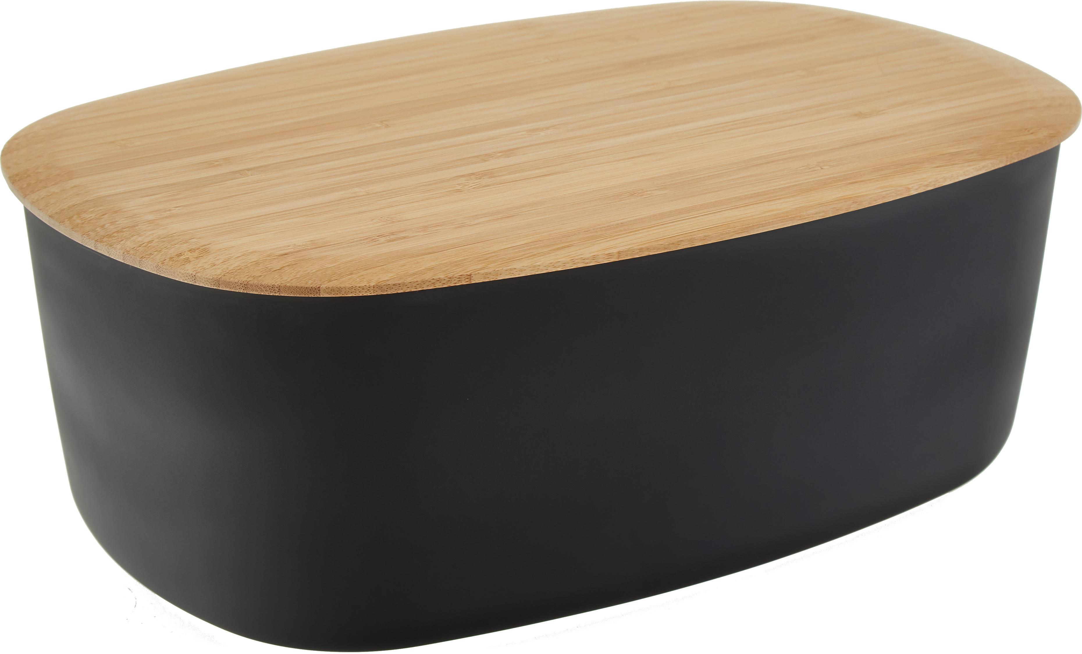 Designer Brotkasten Box-It mit Bambusdeckel, Dose: Melamin, Deckel: Bambus, Dose: Schwarz<br>Deckel: Braun, 35 x 12 cm