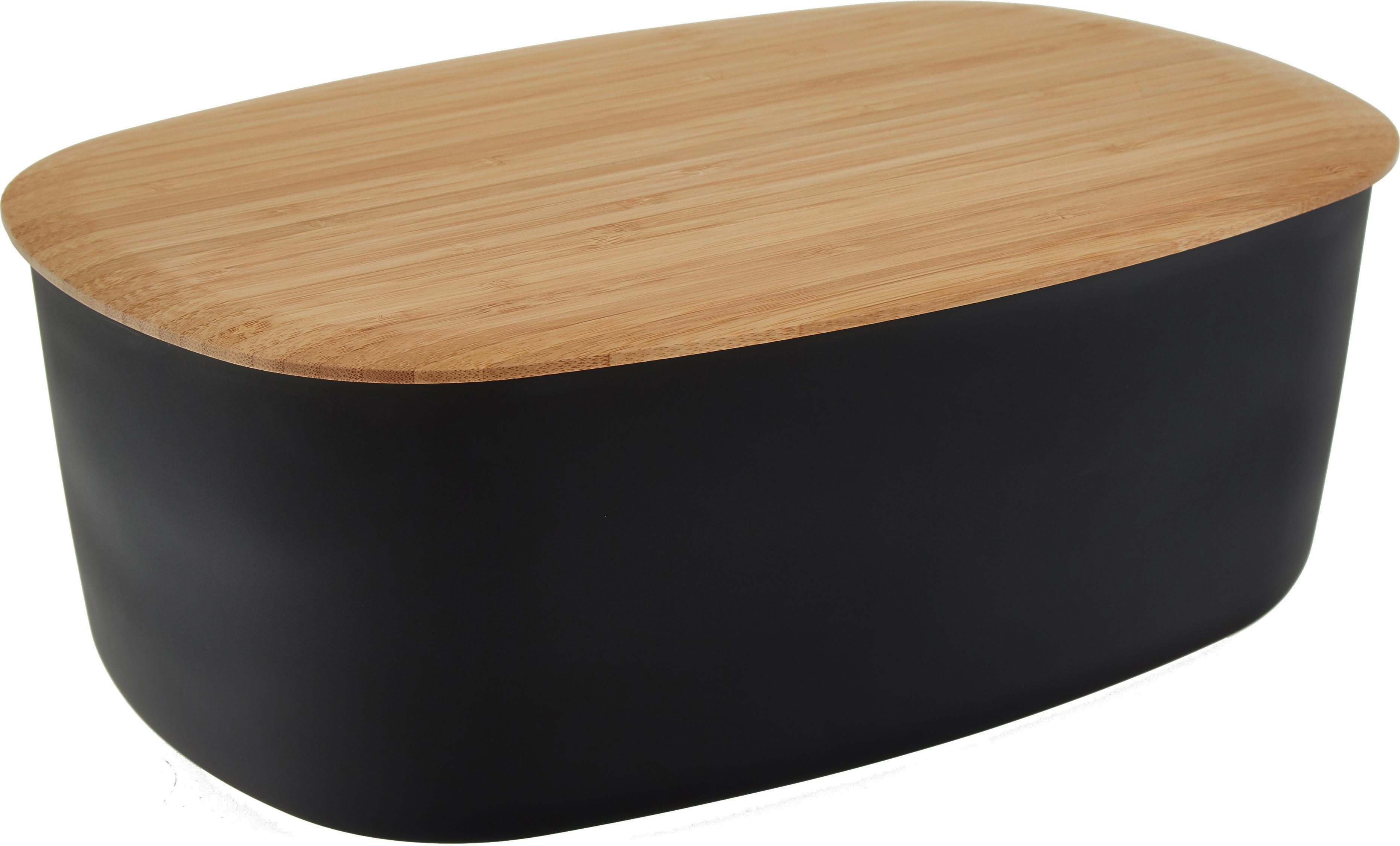 Broodtrommel Box-It, Doos: Melamine, Deksel: Bamboe, Doos: Zwart<br>Deksel: Bruin, 35 x 12 cm