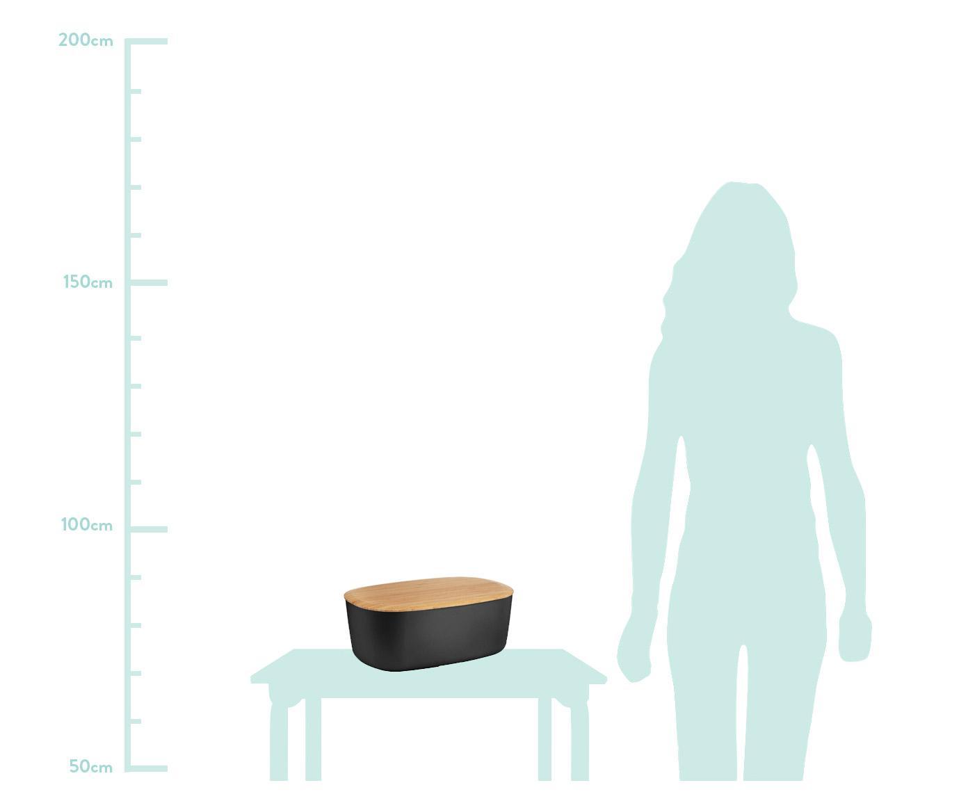 Pojemnik na pieczywo z pokrywką z bambusa Box-It, Pojemnik: czarny Pokrywka: brązowy, S 35 x W 12 cm