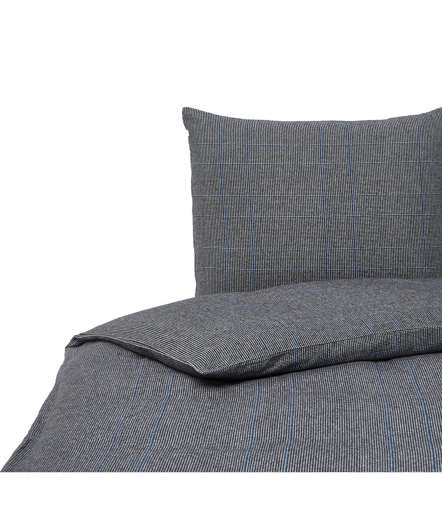 Flanell-Bettwäsche Jason mit Hahnentritt Muster, Webart: Flanell Fadendichte 170 T, Schwarz, Weiß, Blau, 135 x 200 cm + 1 Kissen 80 x 80 cm