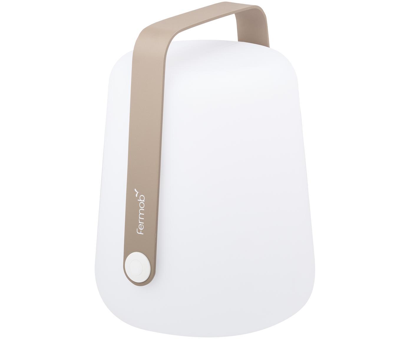 Mobile LED Außenleuchte Balad, Lampenschirm: Polyethen, für den Außenb, Griff: Aluminium, lackiert, Muskatbraun, Ø 19 x H 25 cm