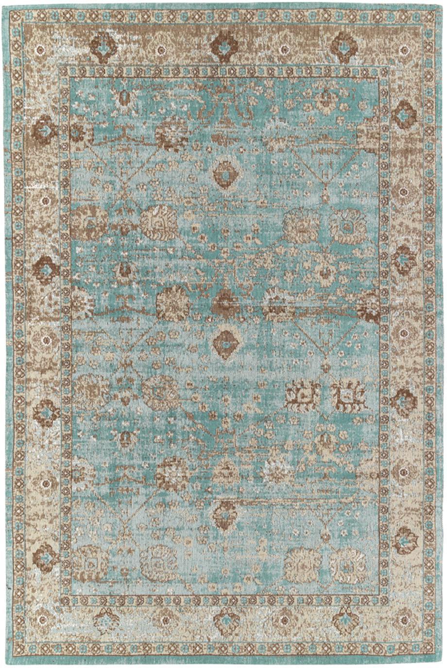 Vintage Chenilleteppich Rimini in Türkis-Braun, handgewebt, Flor: 95% Baumwolle, 5% Polyest, Türkis, Taupe, Braun, B 160 x L 230 cm (Größe M)