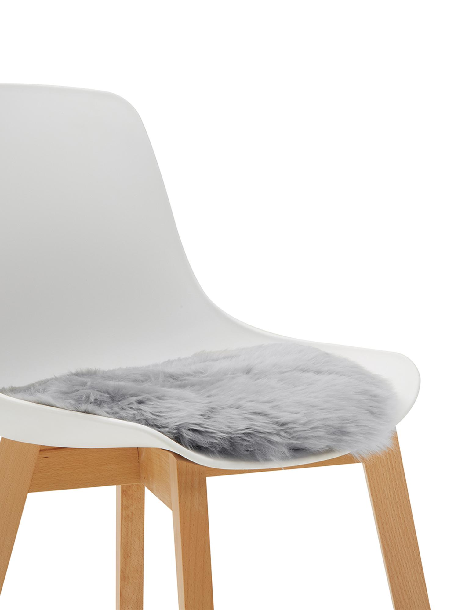 Runde Schaffell-Sitzauflage Oslo, glatt, Flor: 100% Schaffell, Rückseite: 100% Polyester, Hellgrau, Ø 37 cm