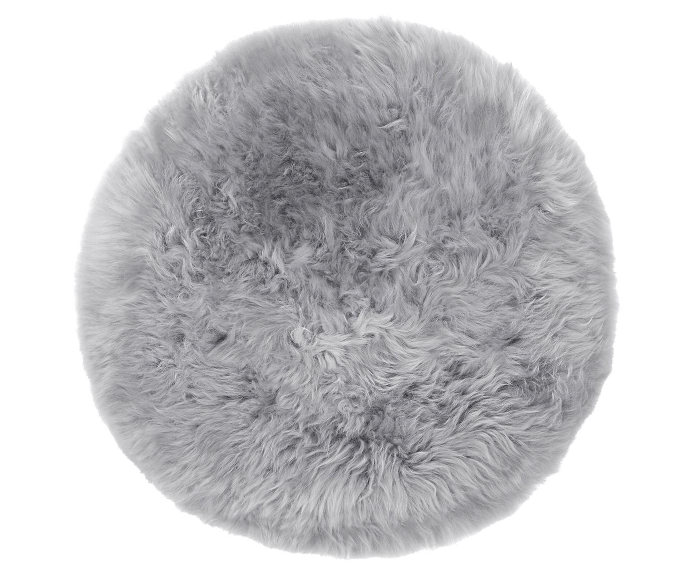 Cuscino sedia in pelliccia di pecora Oslo, Retro: 100% pelle, rivestito sen, Grigio chiaro, Ø 37 cm