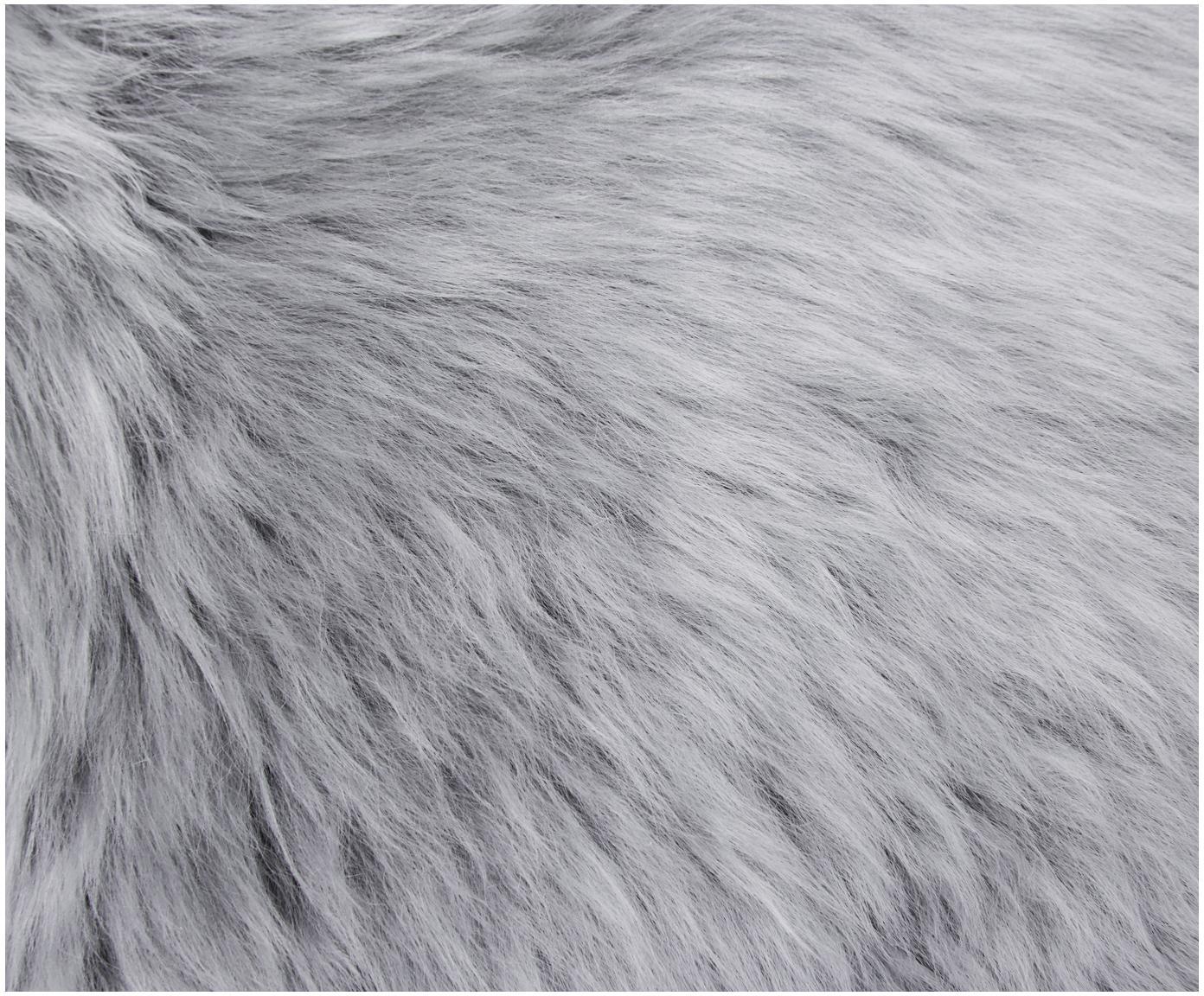 Zitkussen van schapenvacht Oslo, glad, Lichtgrijs, Ø 37 cm