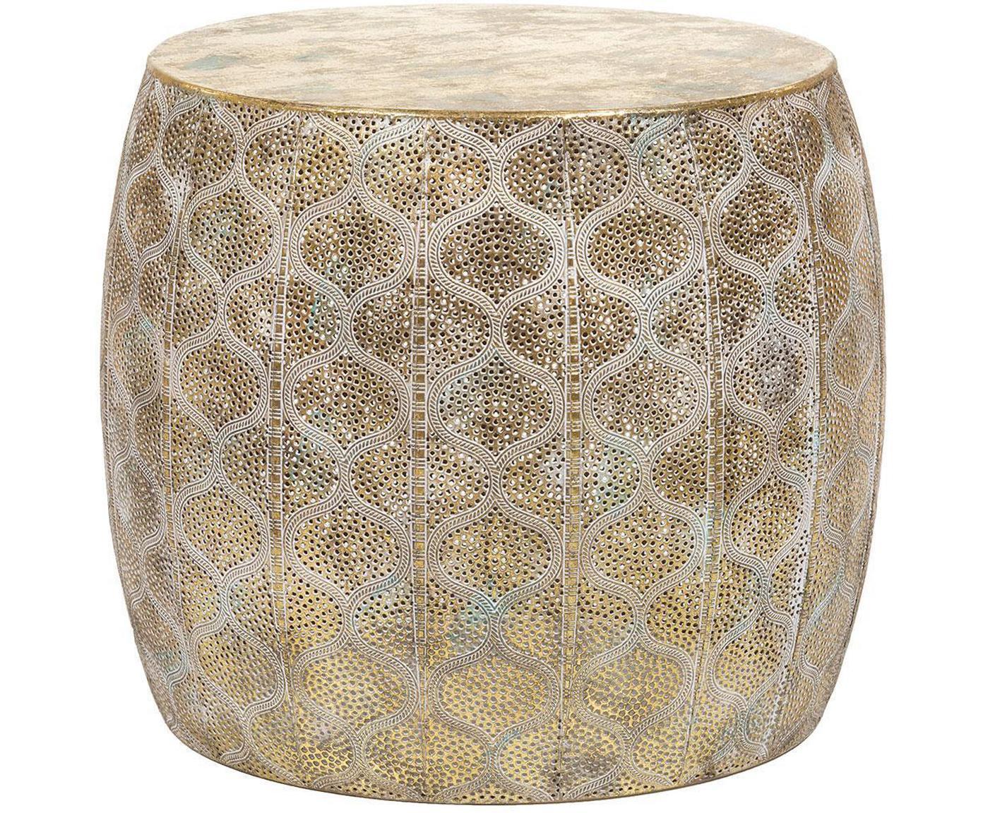 Taburete Mosaico, Hierro con efecto envejecido, Dorado envejecido , Ø 44 x Al 38 cm