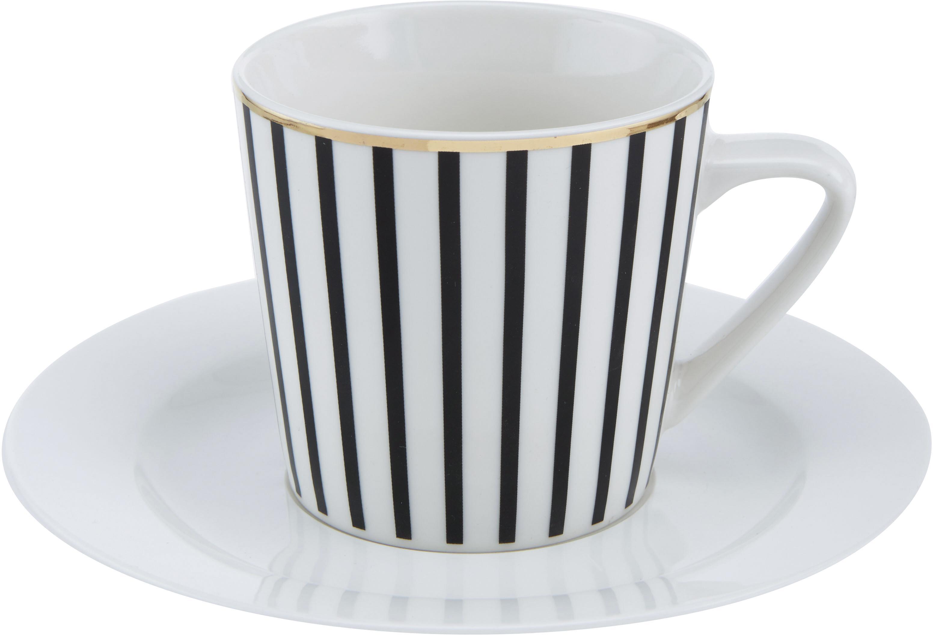 Tasse mit Untertassen Pluto Loft, mit Streifendekor und Goldrand, 4 Stück, Porzellan, Schwarz, Weiß, Goldfarben, Ø 8 x H 8 cm
