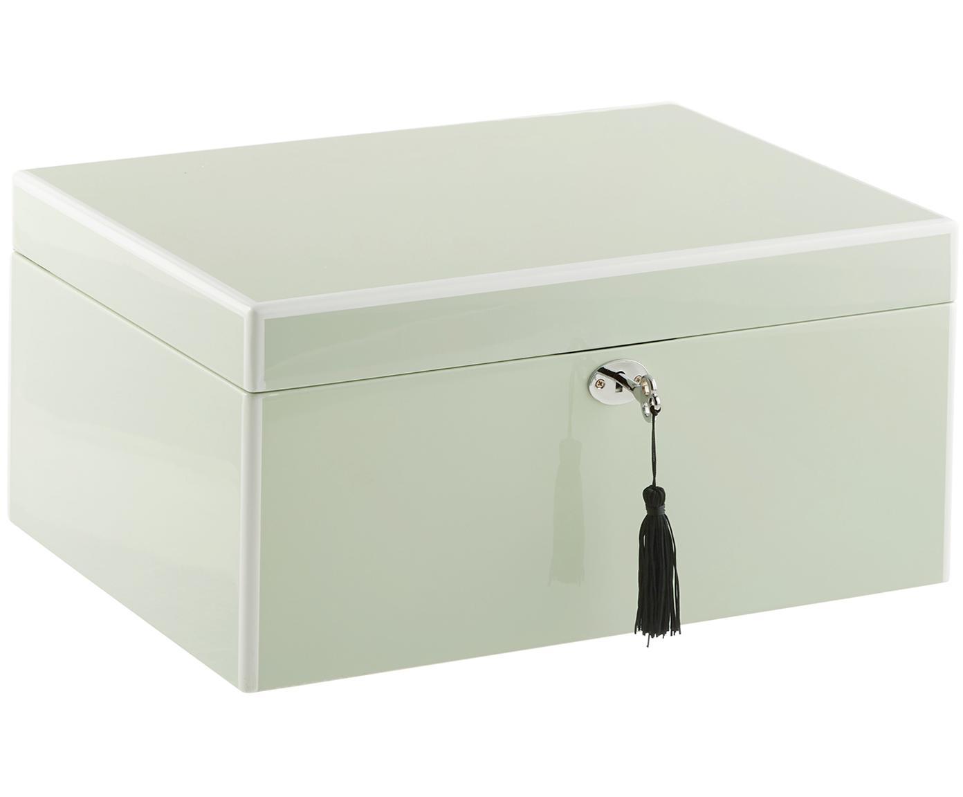 Sieradendoos Juliana met spiegel, Doos: gecoat MDF, Onderzijde: fluweel om het meubilair , Mintgroen met witte rand, 31 x 23 cm